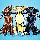 Labs on a Rope Blue by offleashart