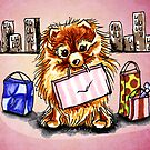Pomeranian Shopping Day Pink by offleashart