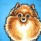 Orange Pomeranian Listen Up Blue by offleashart