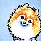 Orange/White Pomeranian Listen Up Blue by offleashart