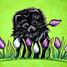Black Pomeranian in Tulips Green by offleashart