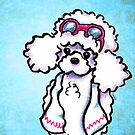 White Poodle Poolside Blue by offleashart