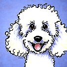 White Poodle Big Smile Periwinkle by offleashart
