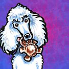 White Standard Poodle with Teddy Bear Purple by offleashart