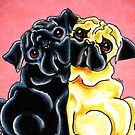 Black and Fawn Pug Hug Red by offleashart