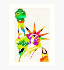 Statue Of Liberty Colorful Abstract Art Print