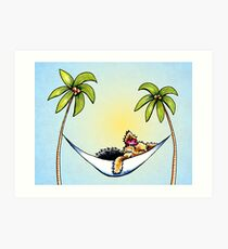 Yorkie in Palm Tree Hammock Art Print