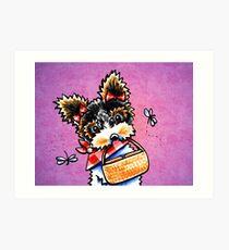 Biewer Yorkie with Picnic Basket Purple Art Print