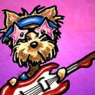 Yorkie with Rockstar Sunglasses and Guitar Purple by offleashart