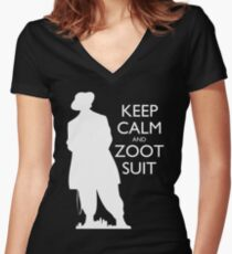 Keep Calm and Zoot Suit (El Pachuco - Dark) Women's Fitted V-Neck T-Shirt