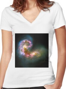 Antennae Galaxies Women's Fitted V-Neck T-Shirt