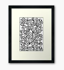 Pile of Black Bicycles Framed Print