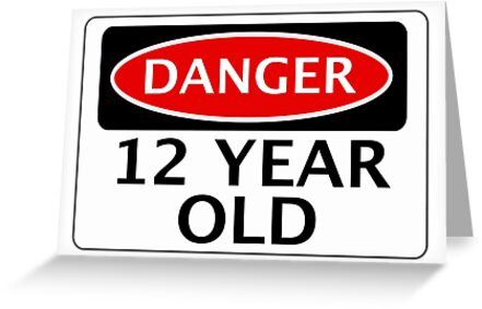 Danger 12 Year Old Fake Funny Birthday Safety Sign Greeting Cards