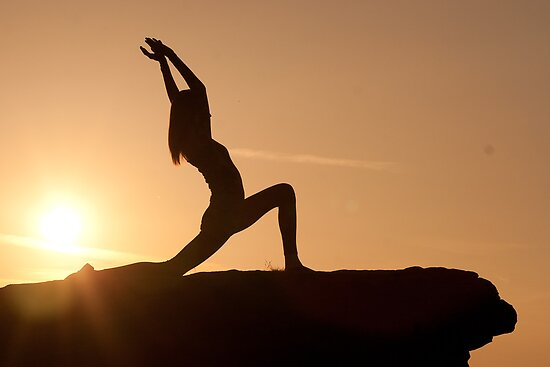 Yoga Poses at Sunset 1 by JonWHowson