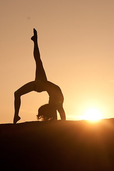 Yoga Poses at Sunset 4 by JonWHowson
