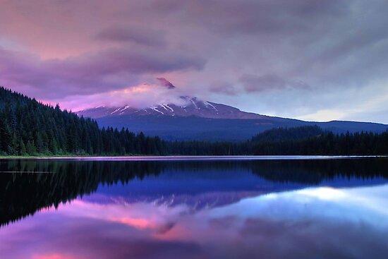 Trillium Lake At Dusk by Jennifer Hulbert-Hortman