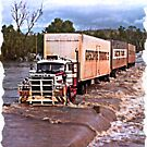 Truck crossing Ord River, West Australia  in Flood by JuliaKHarwood
