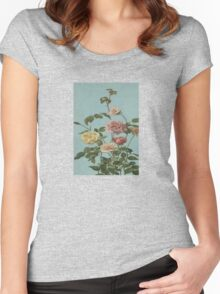 Vintage Tea Rose and Blush Roses Women's Fitted Scoop T-Shirt