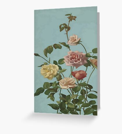 Vintage Tea Rose and Blush Roses Greeting Card