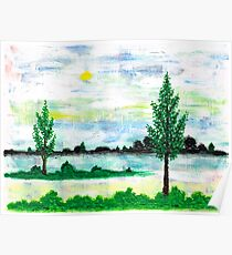 LANDSCAPE IN ACRYLIC COLOUR Poster