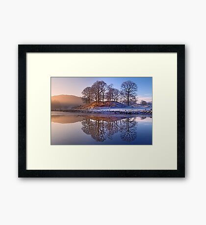 Clearing mist and reflections - River Brathay Framed Print