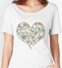 Dollars Heart Women's Relaxed Fit T-Shirt