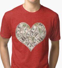 Dollars Heart Tri-blend T-Shirt