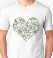 Dollars Heart Unisex T-Shirt