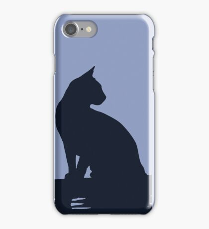 Black Cat  Sitting On the Fence iPhone Case/Skin