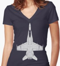 McDonnell Douglas F-18 Hornet Women's Fitted V-Neck T-Shirt