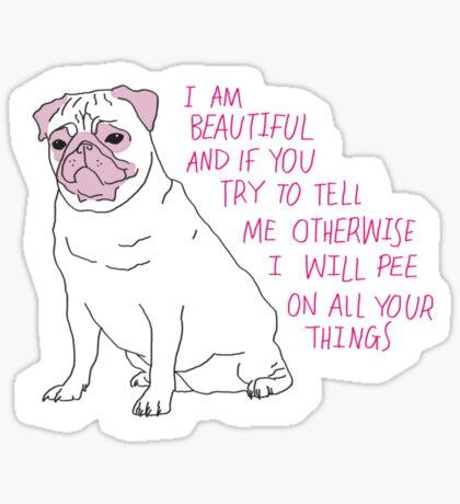 Sassy Pug Sticker