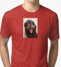 Cute Rottweiler Puppy With Tongue Out Tri-blend T-Shirt