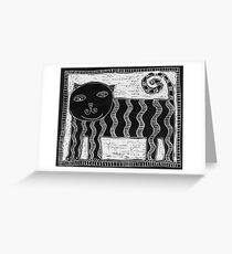 Black and White Stripey Cat Greeting Card
