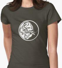 Bull Emblem In White Women's Fitted T-Shirt