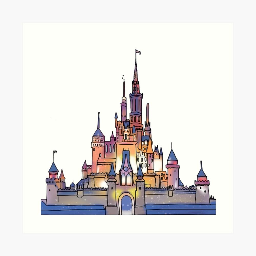 Aquarell Schloss Kunstdruck