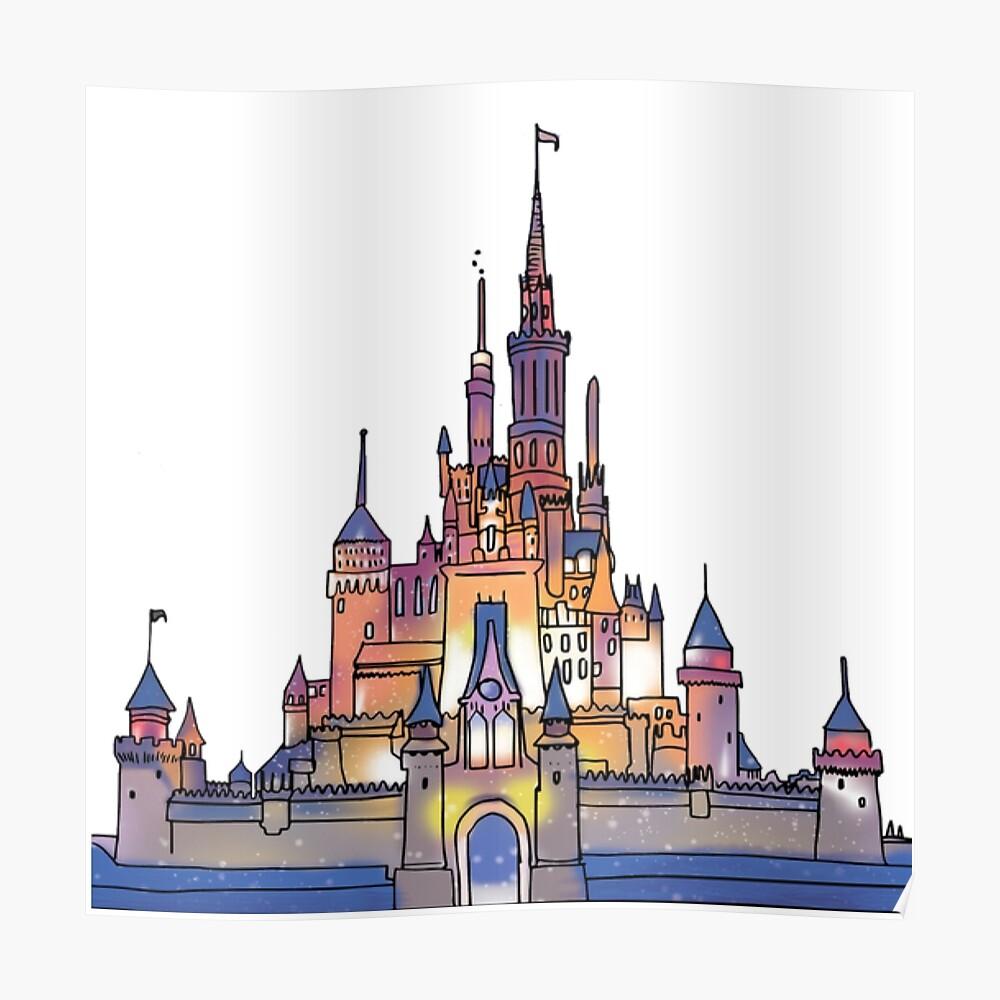 Aquarell Schloss Poster