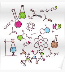 Hand draw chemistry background Poster