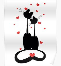 silhouettes of two cats in love. Vector illustration Poster