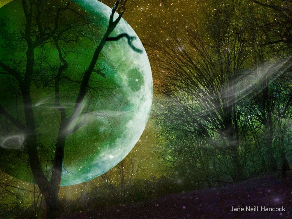 Athabaskan, Green Planet with Green Moon, Andromeda Galaxy by Jane Neill-Hancock