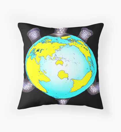 Turtle Shell World Map Throw Pillow