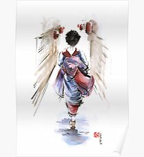Geisha Japanese woman in kimono original Japan painting art Poster