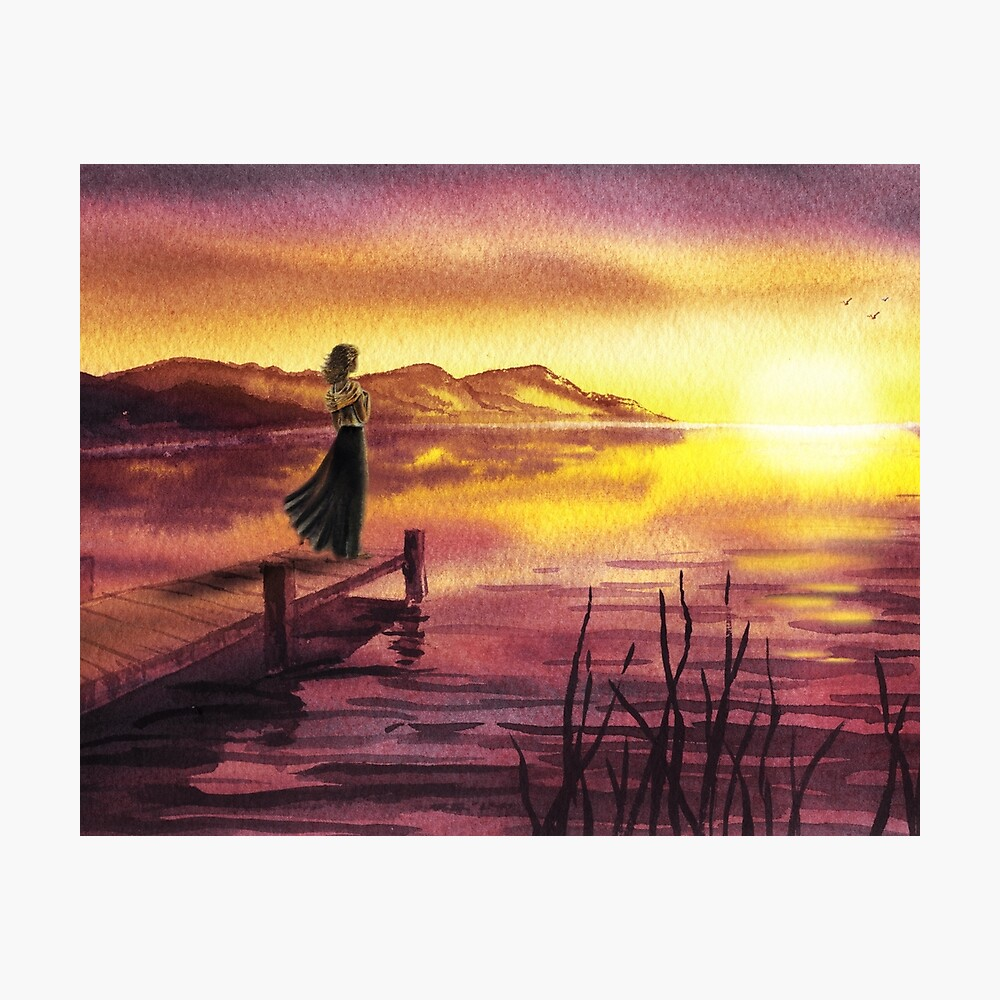 Girl Watching Sunset At The Lake Photographic Print
