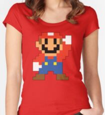 Super Mario Maker - Modern Mario Costume Sprite Women's Fitted Scoop T-Shirt