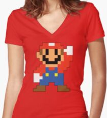 Super Mario Maker - Modern Mario Costume Sprite Women's Fitted V-Neck T-Shirt