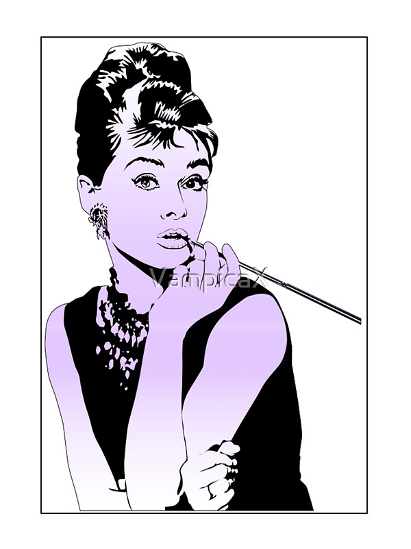 Quot Audrey Hepburn Purple Quot Stickers By Vampicax Redbubble