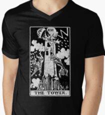 The Tower Tarot Card - Major Arcana - fortune telling - occult Men's V-Neck T-Shirt