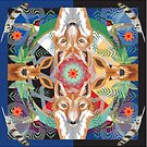 Fox and fawn mandala by artbymargaret