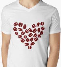 Coffee Bean Heart Mens V-Neck T-Shirt