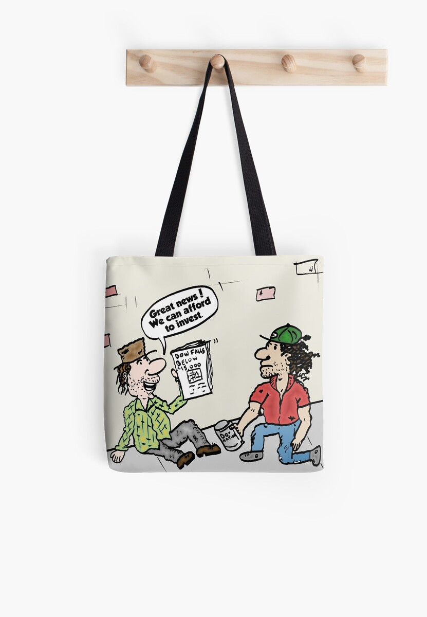 Homeless Investors Editorial Market Cartoon Tote Bags By Binary