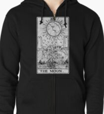 The Moon Tarot Card - Major Arcana - fortune telling - occult Zipped Hoodie